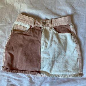 Pink & White Color block Mini Denim Skirt